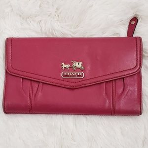 COACH - Pink/Raspberry Leather Trifold Wallet